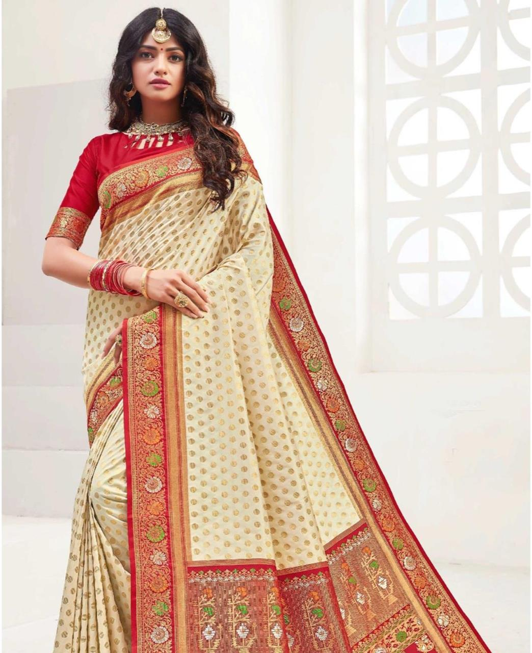 Printed Silk Saree in Cream