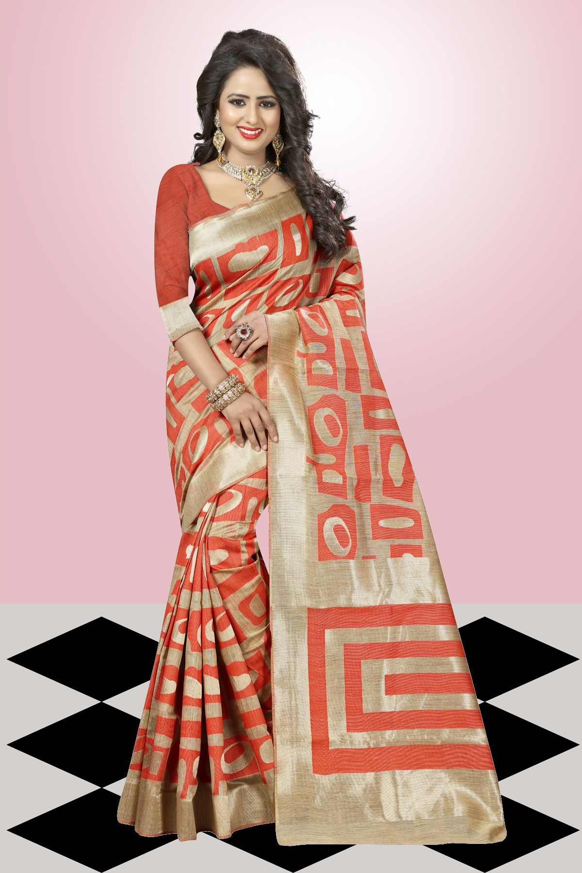 Printed Art Silk Saree in Orange
