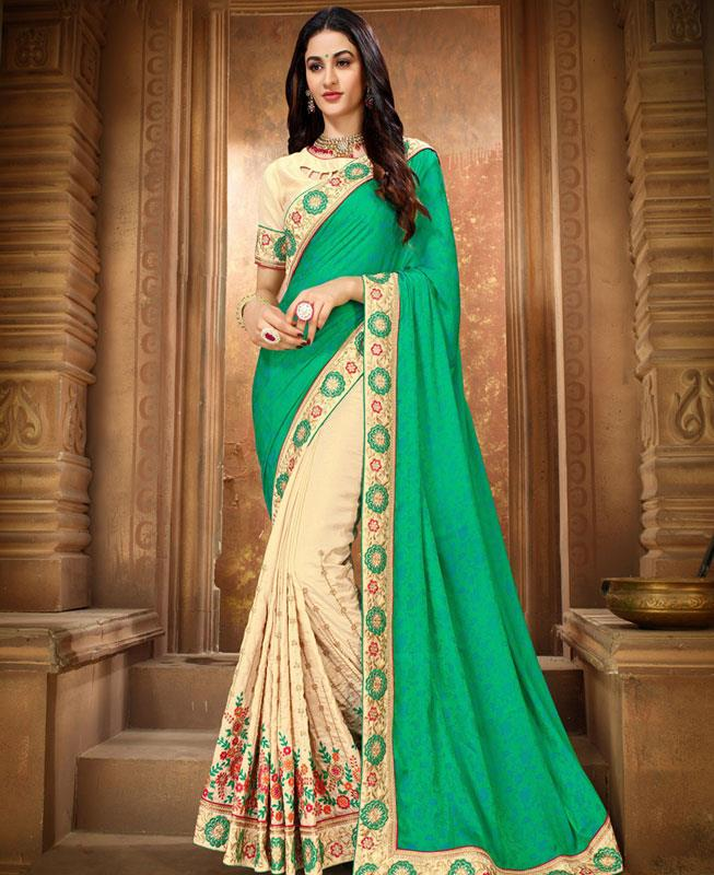 Embroidered Silk Saree in SEAGREEN