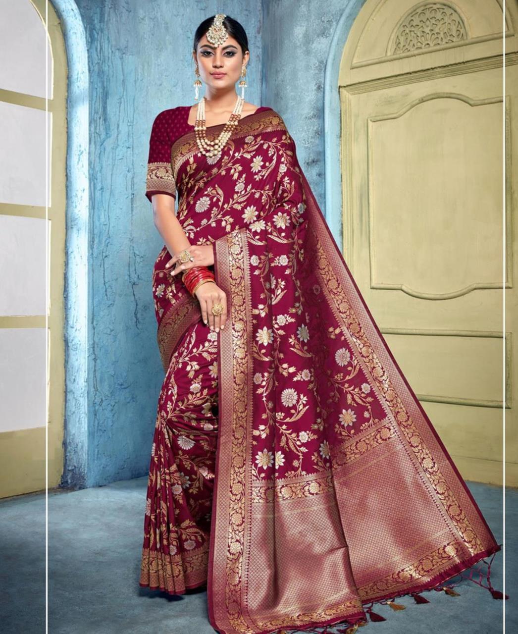 Silk Saree in Maroon