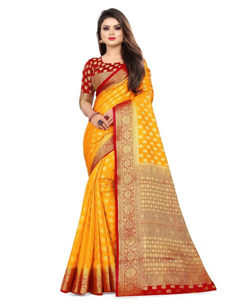 Stone Work Silk Saree in Yellow