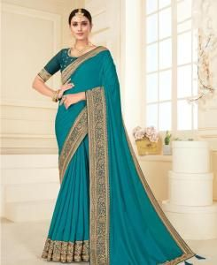 Lace Georgette Saree in Turquoise