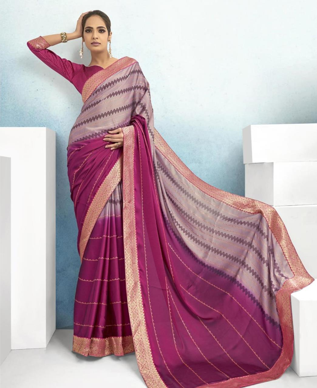 Lace Chiffon Saree in Pink