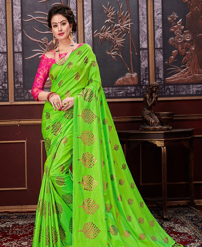 Printed Silk Saree (Sari) in Green