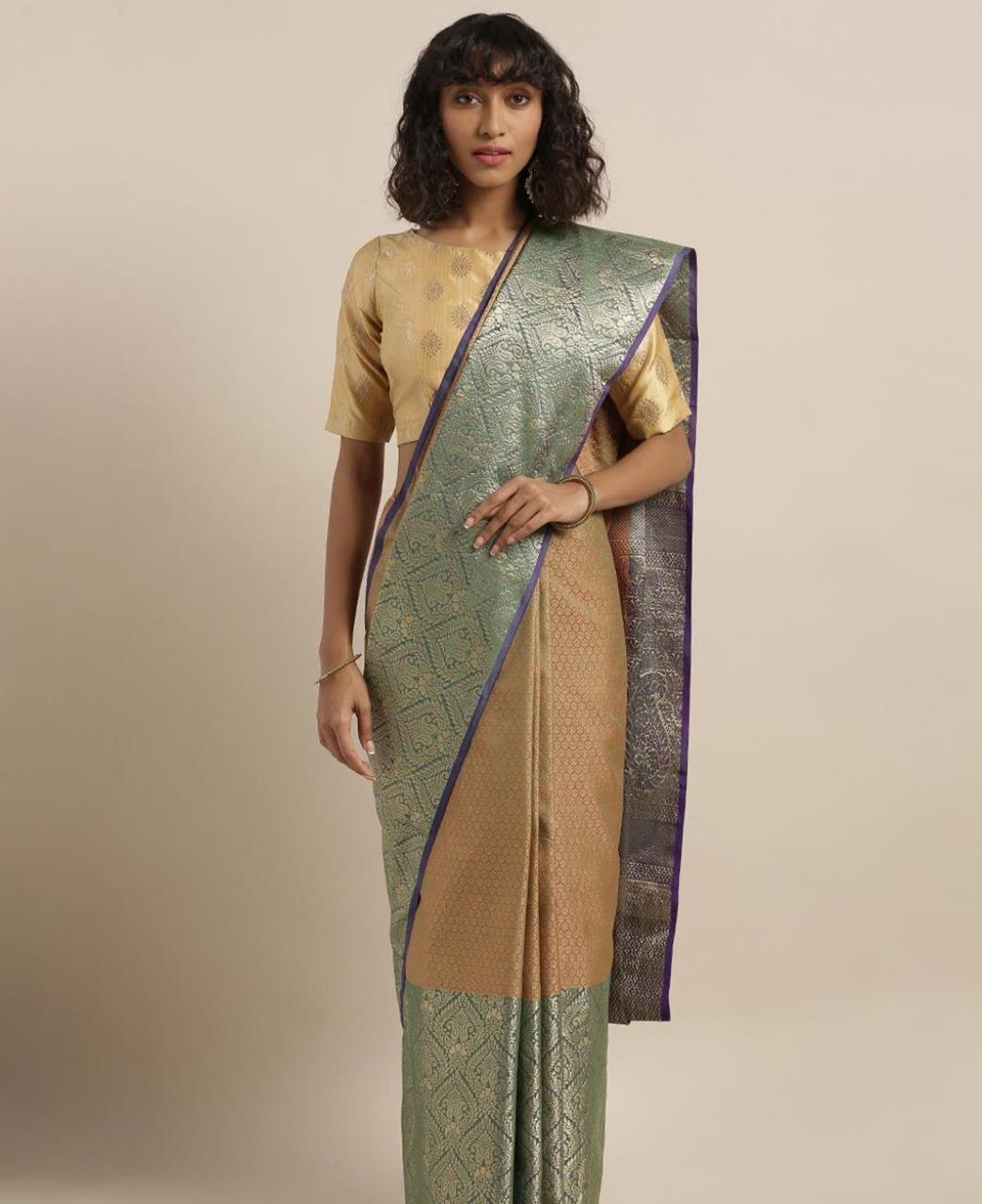 Silk Saree in Gold  ,  Green