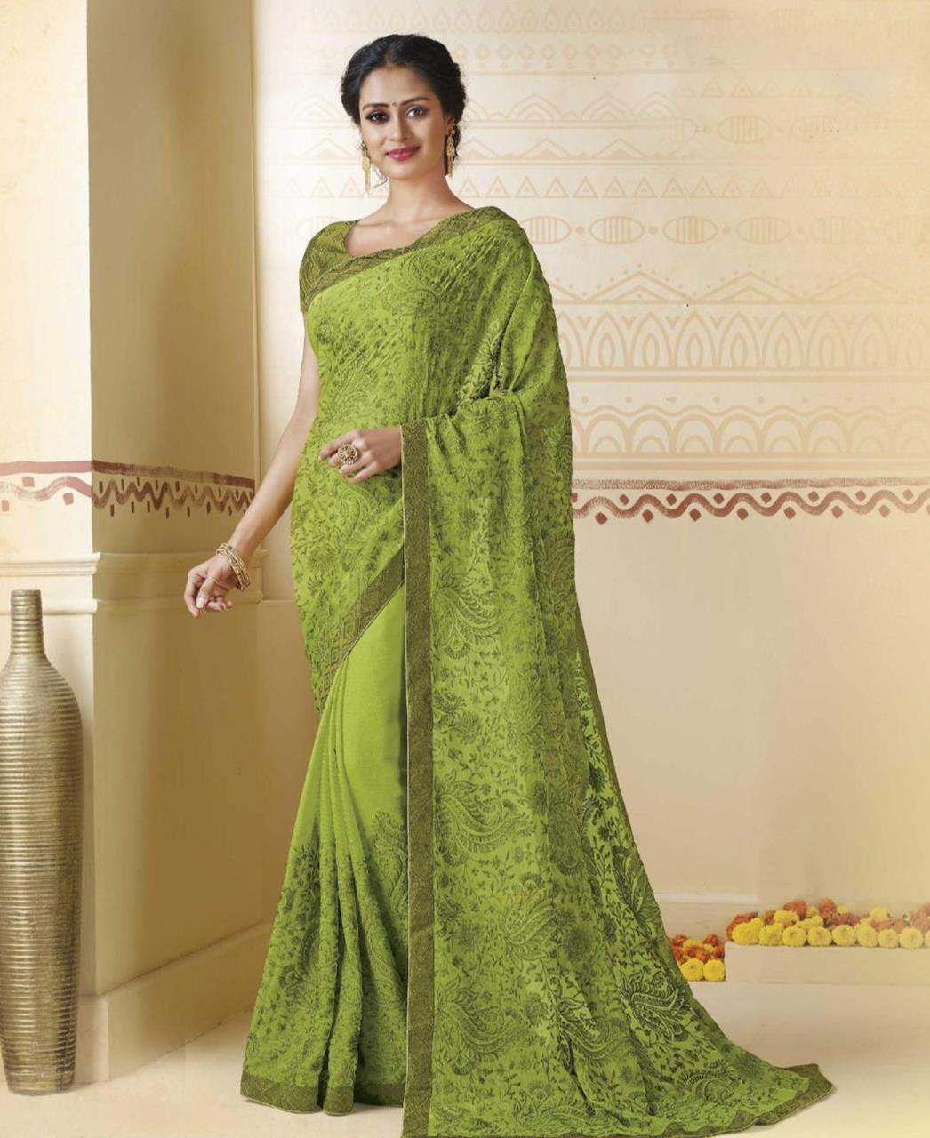 Embroidered Chiffon Saree in Light Green