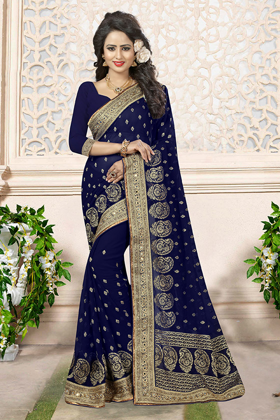 Embroidered Georgette Saree (sari) in Navyblue