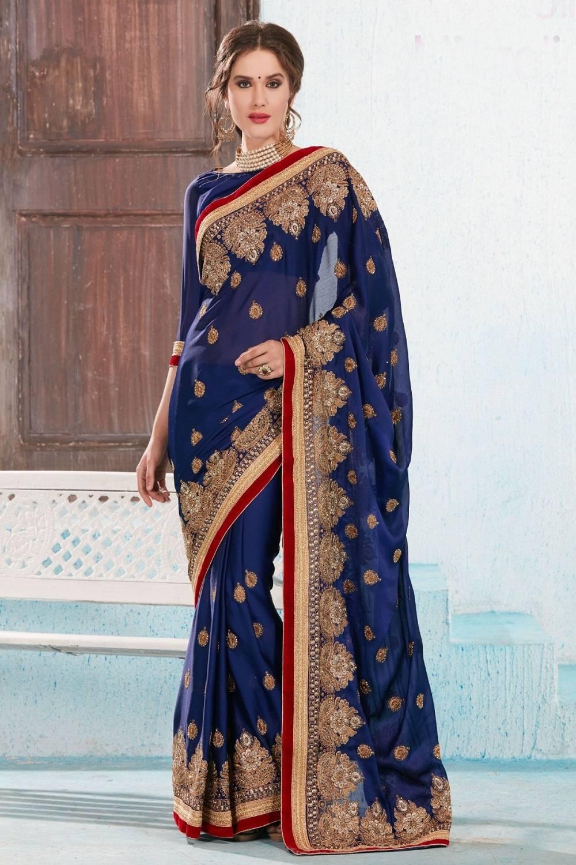 Embroidered Satin Saree (Sari) in Blue