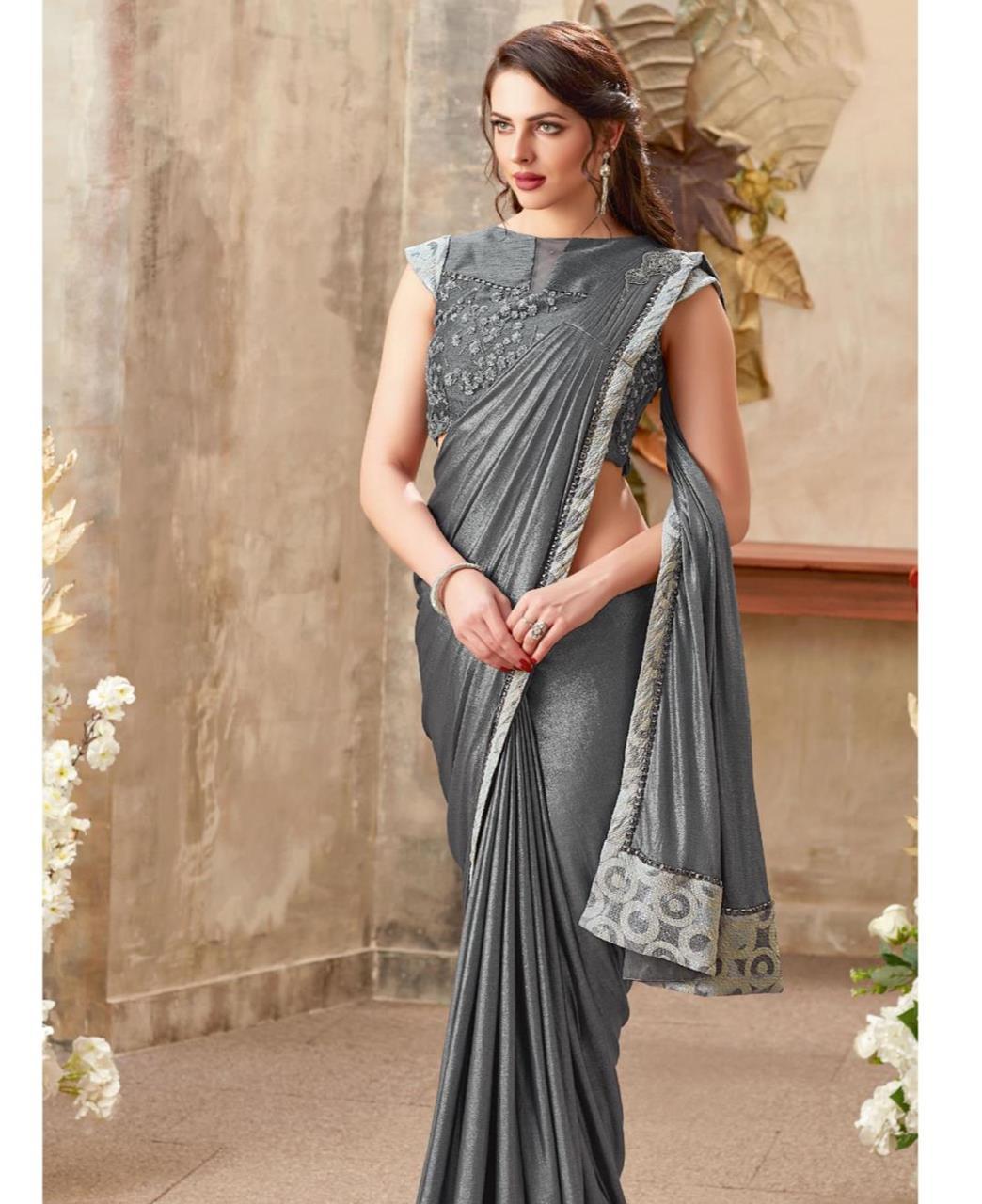 Embellishments Lycra Saree (Sari) in Gray