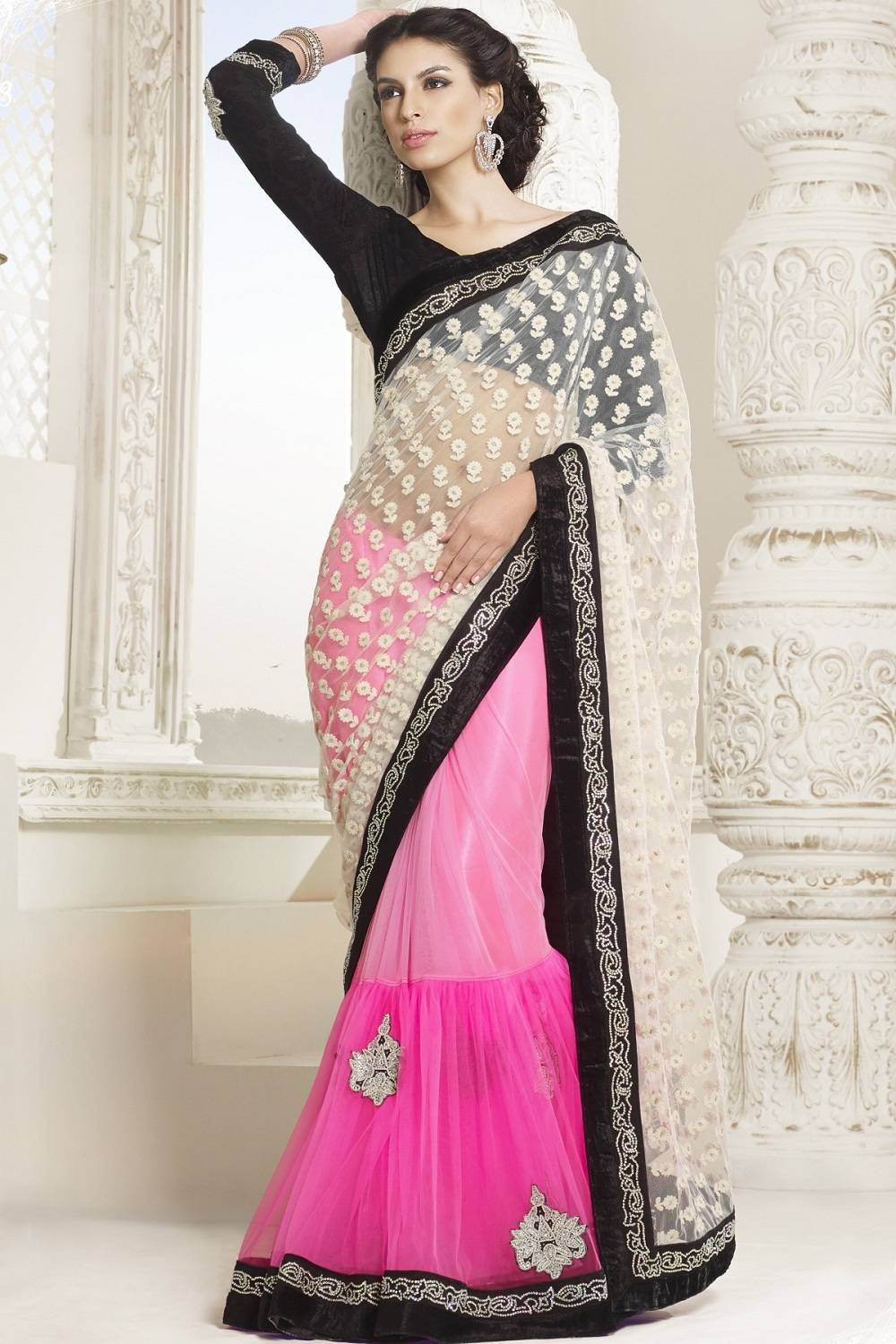 Embroidered Net Saree (Sari) in Pink