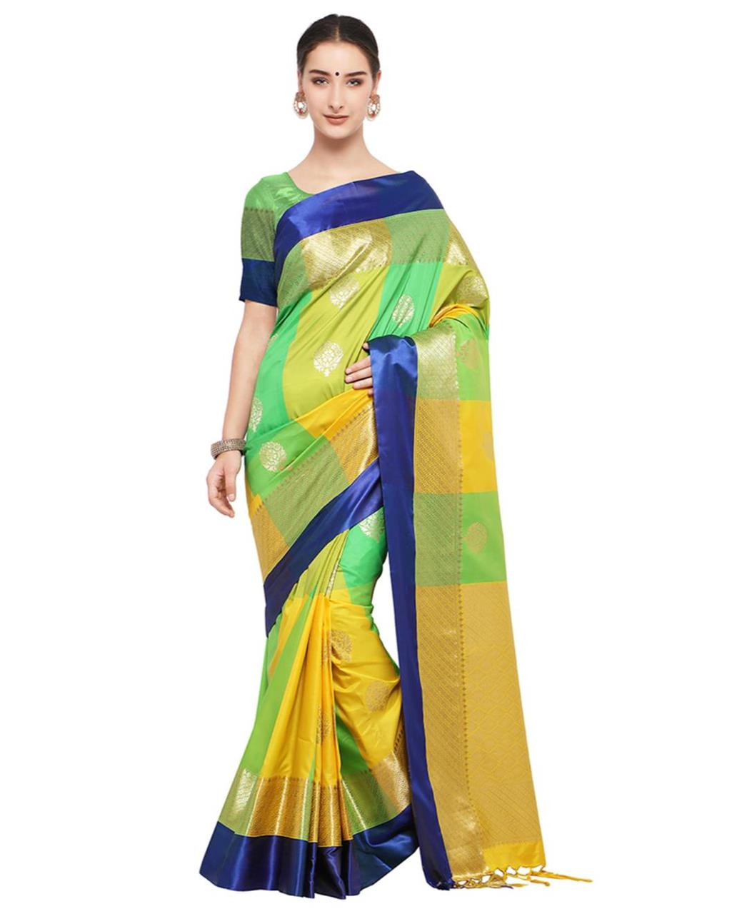 Jari Silk Saree (Sari) in Green