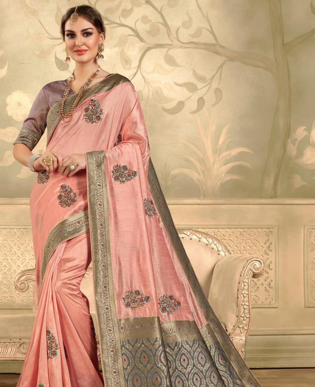 Stone Work Silk Saree in Pink