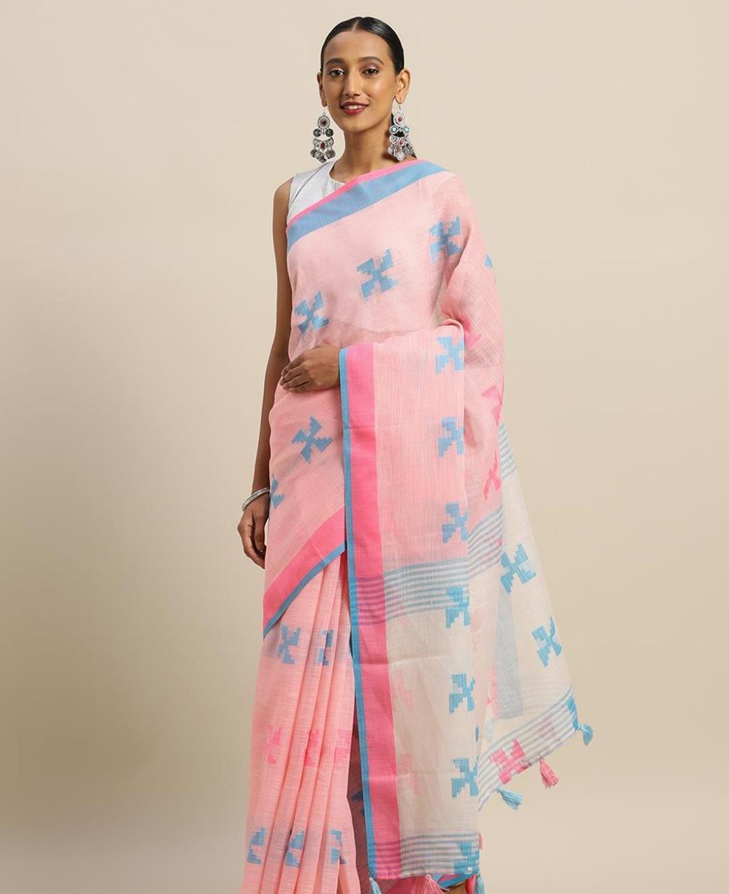 Cotton Saree in Baby Pink