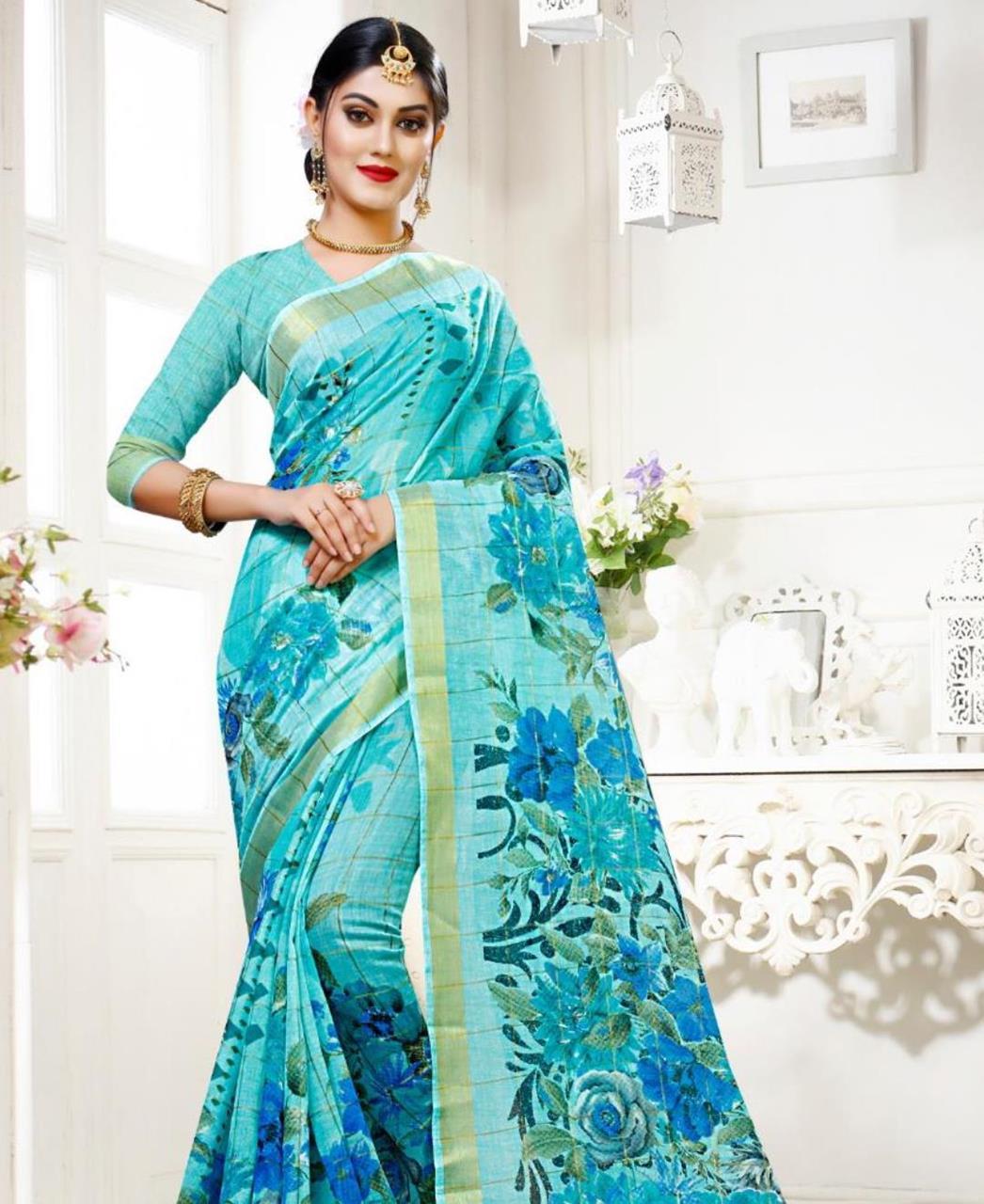 Printed Cotton Saree (Sari) in SKYBLUE