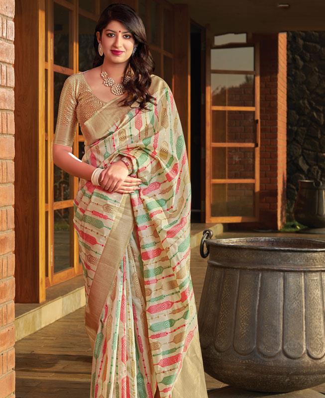Woven Banarasi Silk Saree (Sari) in  Offwhite