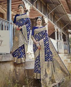 Stone Work Cotton Saree in Blue