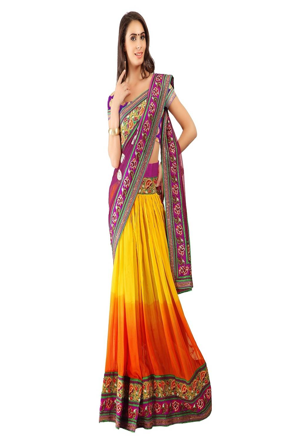 Embroidered Faux Georgette Saree (Sari) in Yellow
