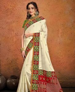 Resham Satin Saree in Cream