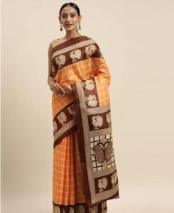 HandWorked Cotton Saree in Orange