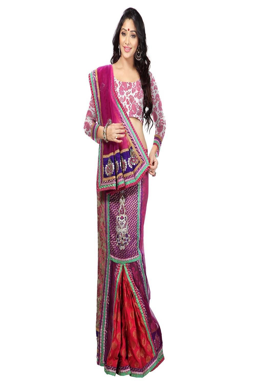 Border Work Net Saree (Sari) in Pink