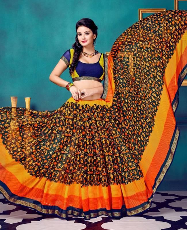 Printed Faux Georgette Saree (Sari) in Yellow