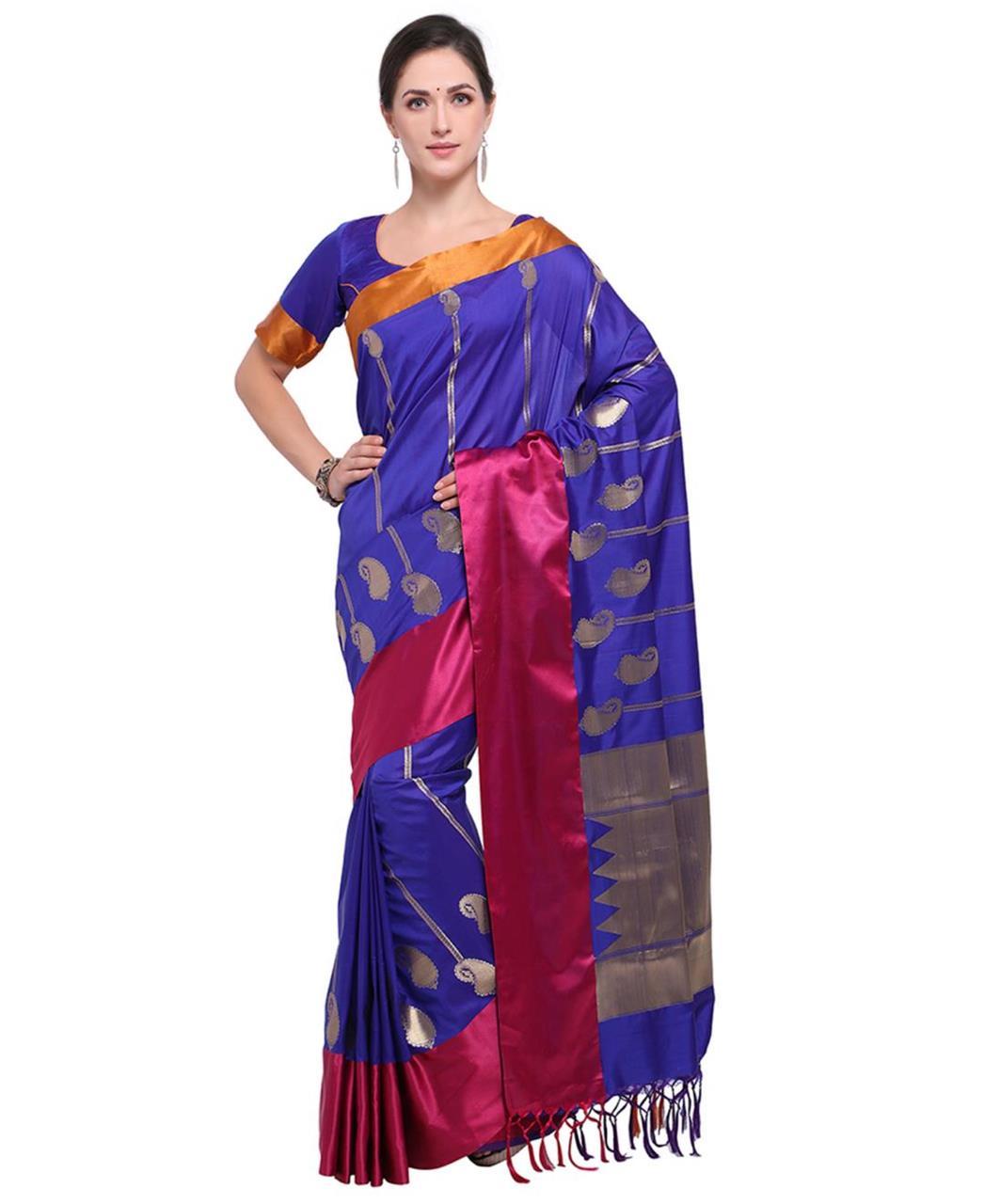 Jari Silk Saree (Sari) in Purple