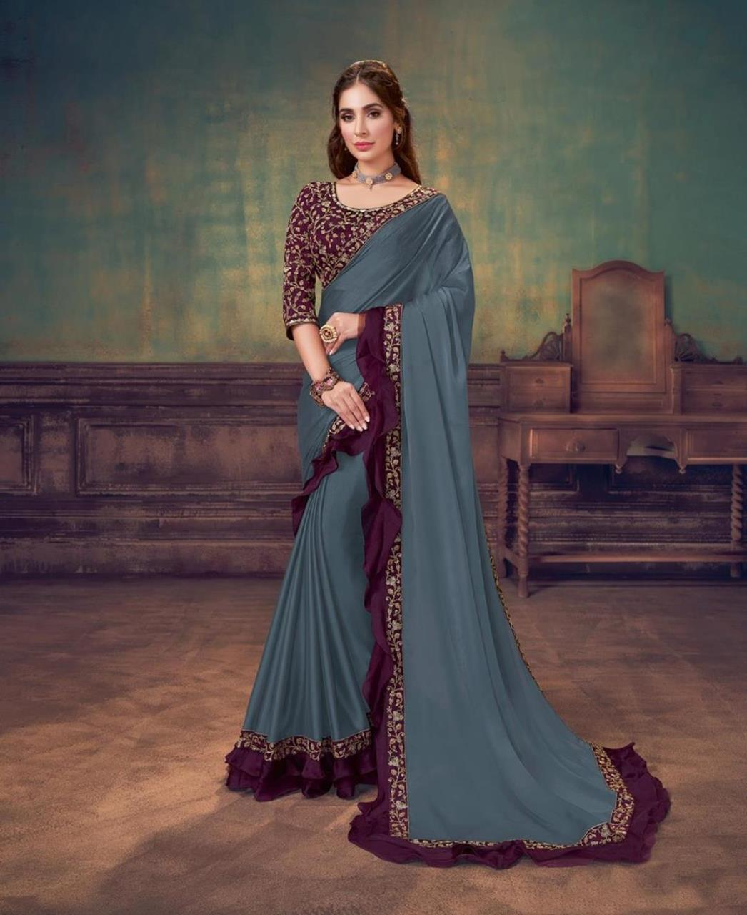 Sequins Silk Saree in Blue Grey