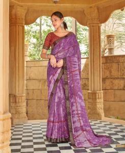 HandWorked Georgette Saree in Purple
