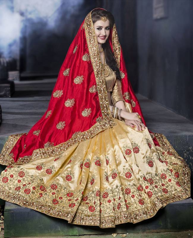 Embroidered Art Silk Saree (Sari) in Red