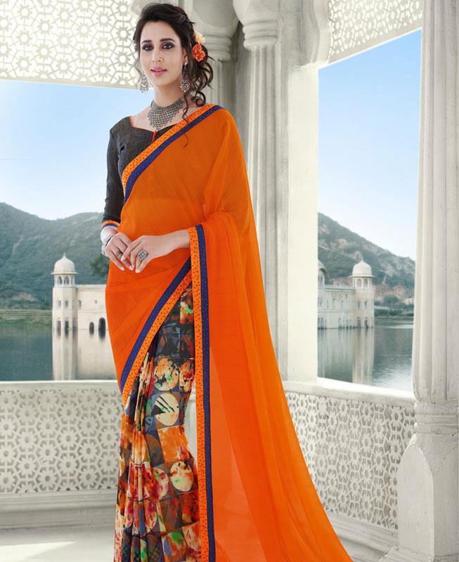 Printed Georgette Saree in Orange