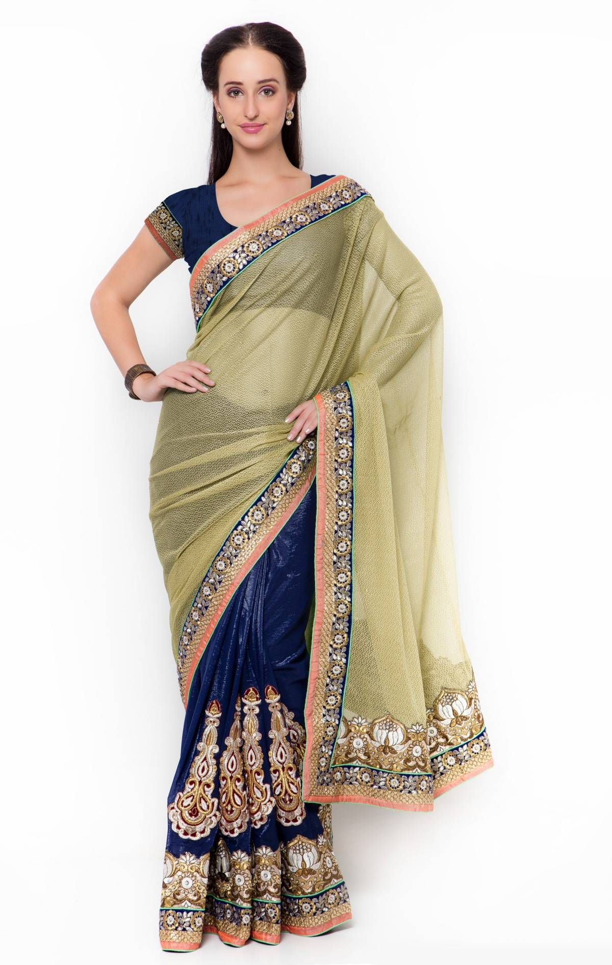 Embroidered Lycra Saree (Sari) in Blue