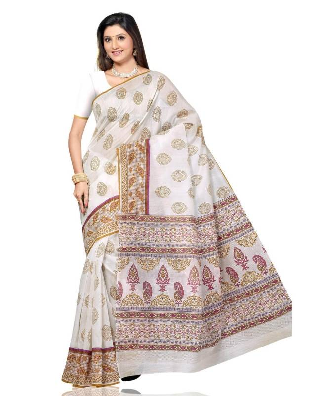 Printed Blended Cotton Saree (Sari) in Off White