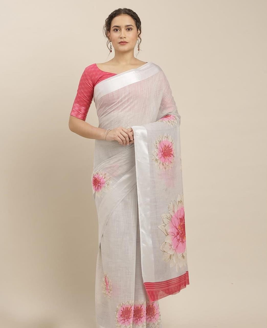 Printed Cotton Saree in Grey