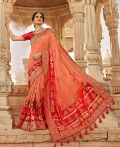 Stone Work Silk Saree in Peach