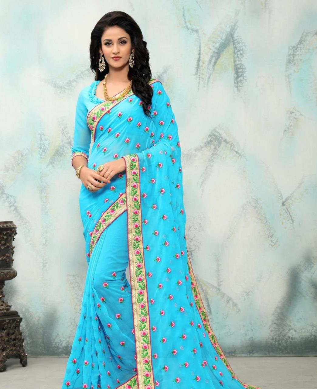 Embroidered Georgette Saree (Sari) in SKYBLUE