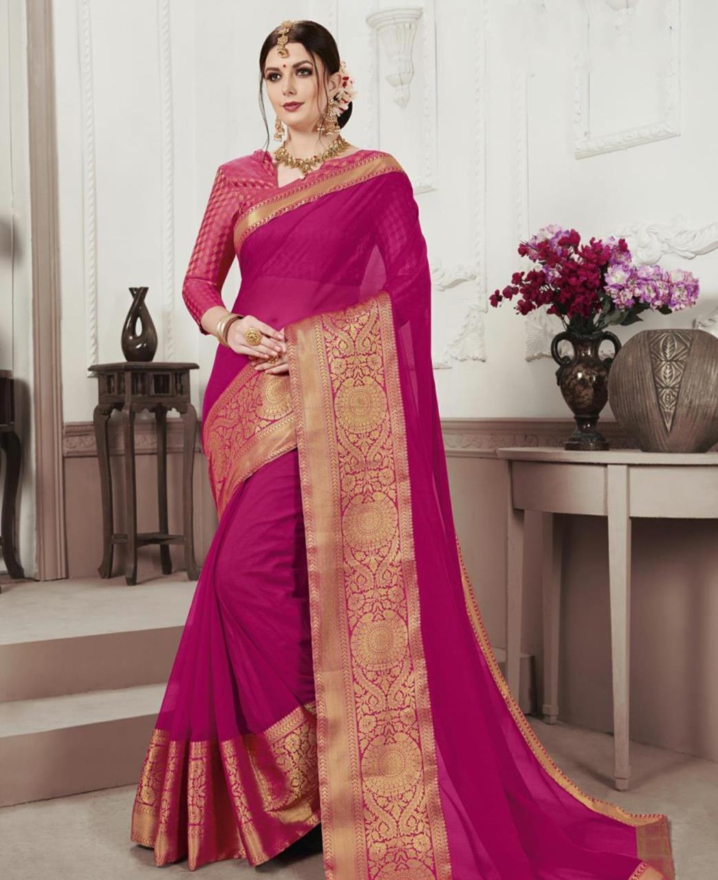 Woven Chiffon Saree (Sari) in Pink