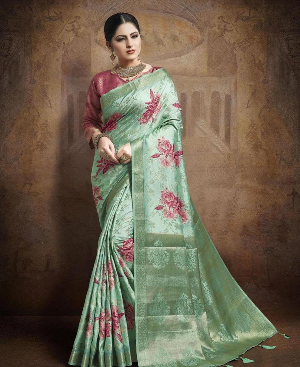 Silk Saree in Sea Green