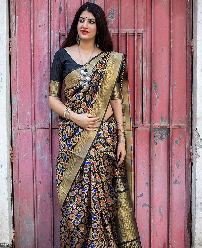 Printed Banarasi Silk Saree (Sari) in Black