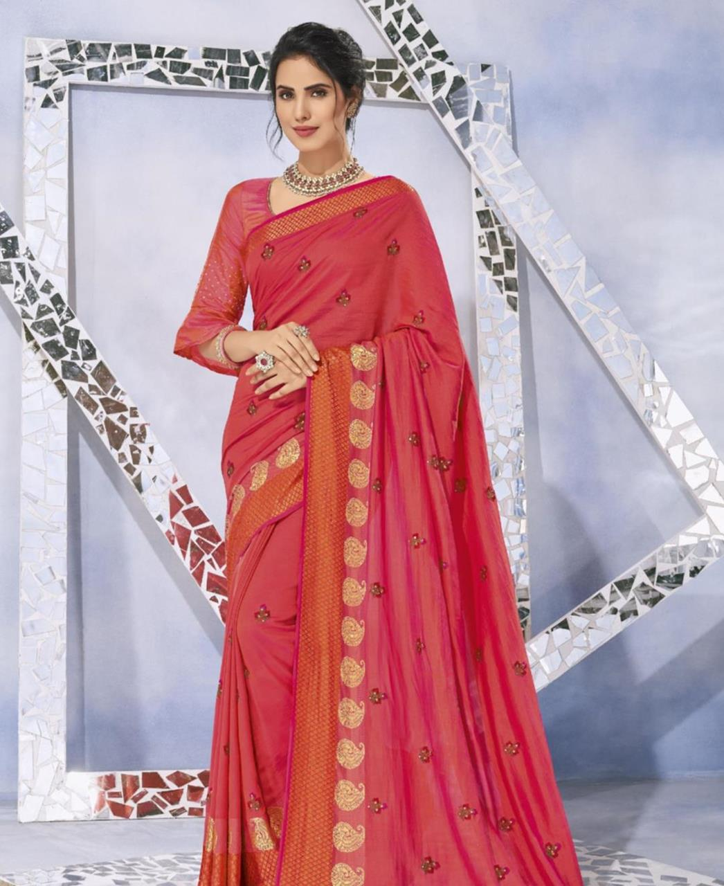 Embroidered Silk Saree in Pink Two Tone