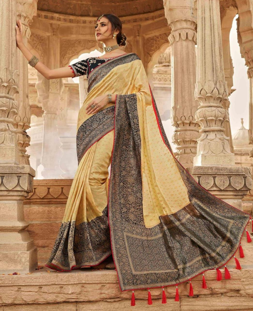Stone Work Silk Saree in Cream