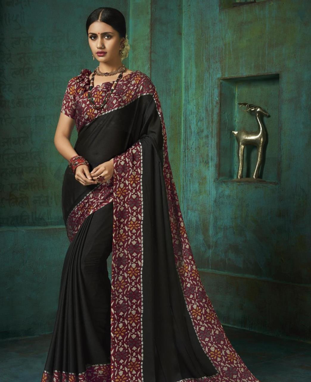 Printed Silk Saree in Black