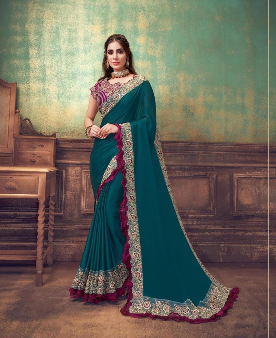Resham Silk Saree in Turquoise Blue