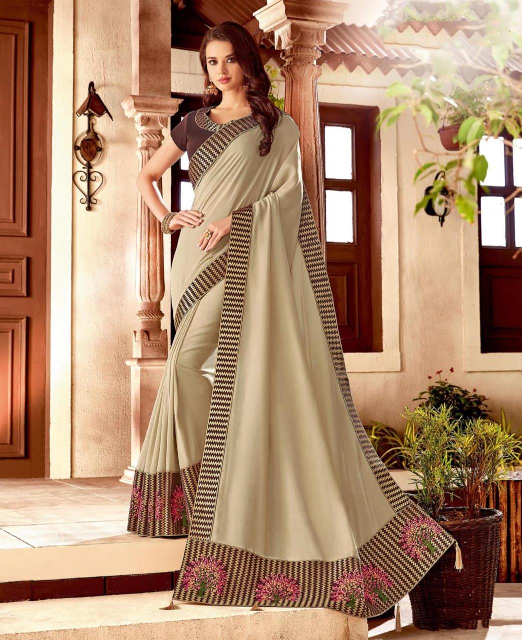 Embroidered Silk Beige Saree