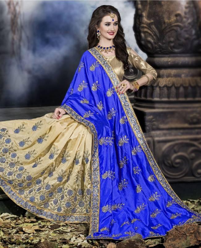 Embroidered Art Silk Saree (Sari) in Blue