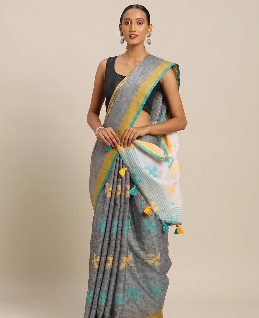 Cotton Saree in Grey