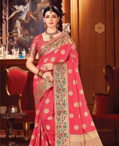 Zari Silk Saree in Pink