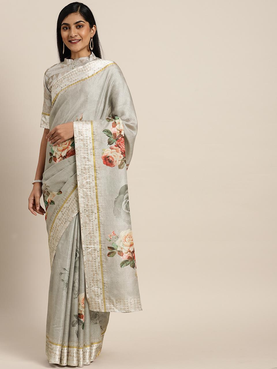 Silk Saree in Grey