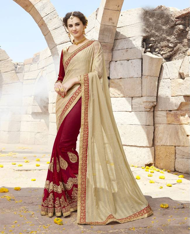 Embroidered Faux Georgette Saree (Sari) in Maroon