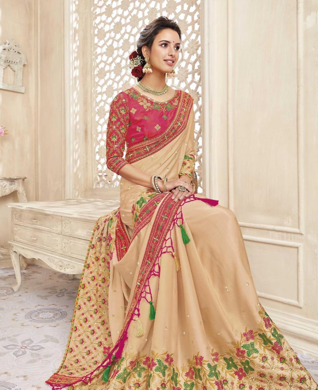 HandWorked Silk Saree in Cream