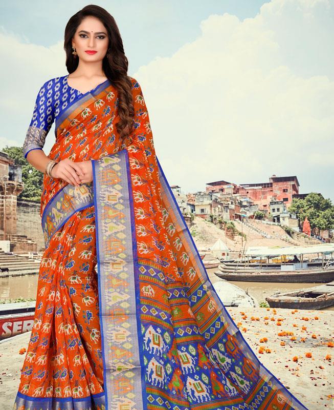 Cotton Saree in Orange
